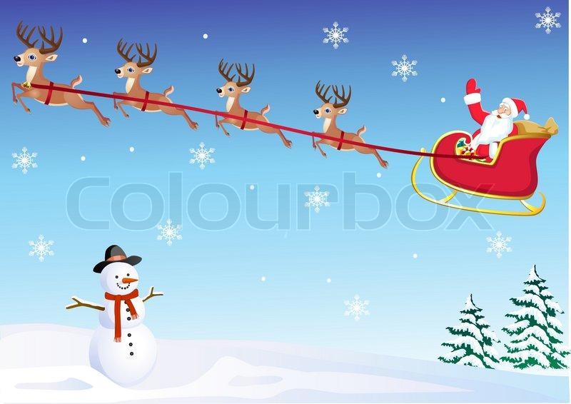 Santa's sleigh   Vector   Colourbox
