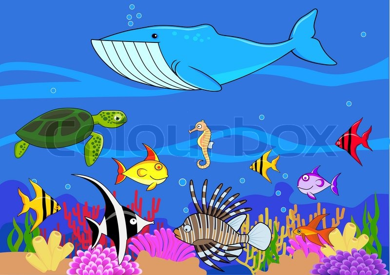 sealife cartoon stock vector colourbox rh colourbox com Cartoon Kitchen Scene Cartoon Kitchen Scene