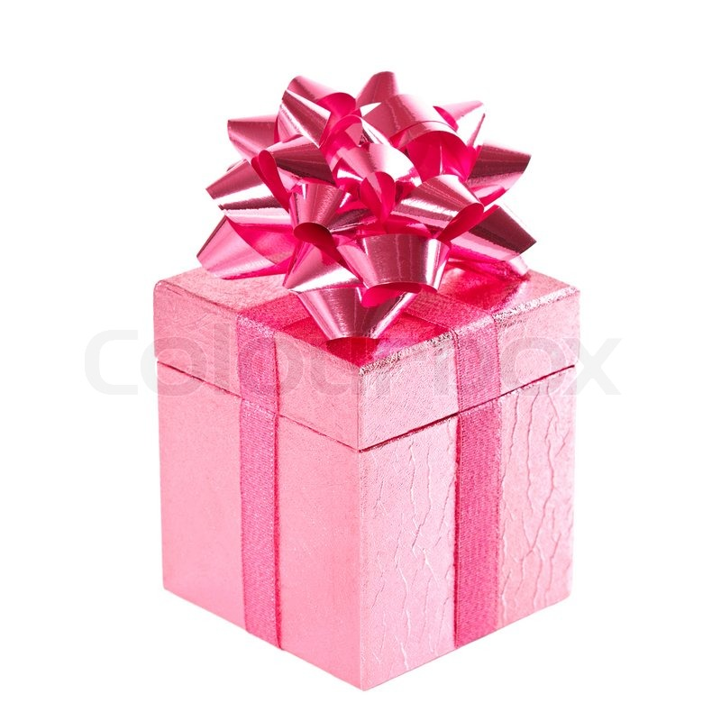 Pink gift box with bow on white | Stock Photo | Colourbox