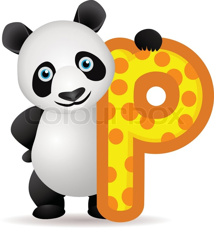 animal alphabet p with panda cartoon | stock vector | colourbox