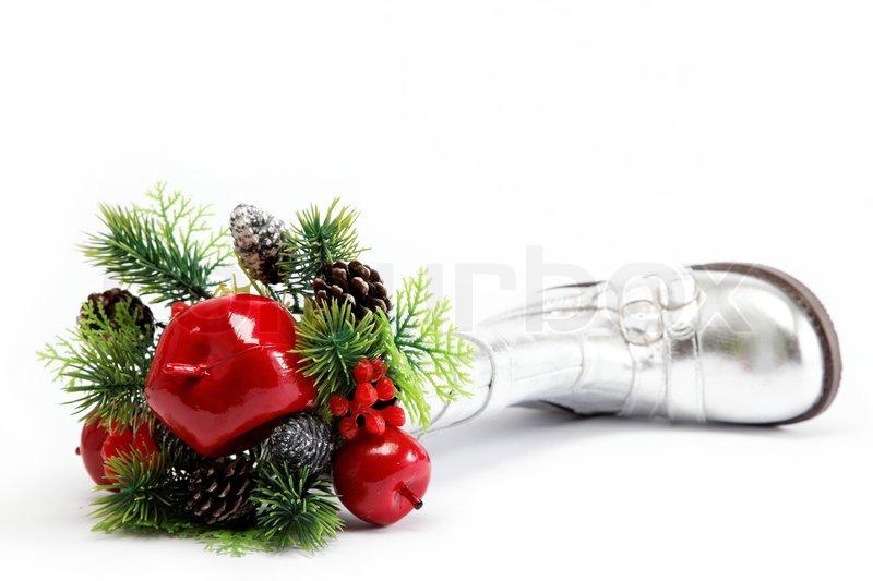 bb78827b1bbc Stock foto af  Julen dekoration isoleret på hvid baggrund Grenen spiste med  dekorationer i sølv