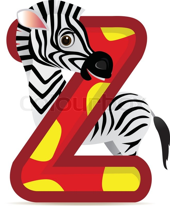 animal alphabet z with zebra cartoon | stock vector | colourbox
