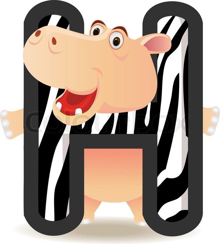 Animal Alphabet H With Hippo Cartoon Stock Vector