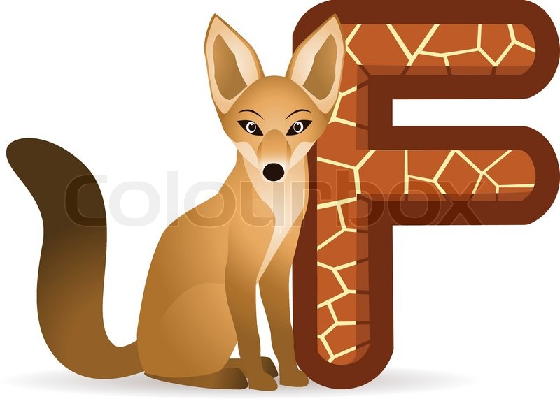 Alphabet F With Fox Cartoon Stock Vector Colourbox