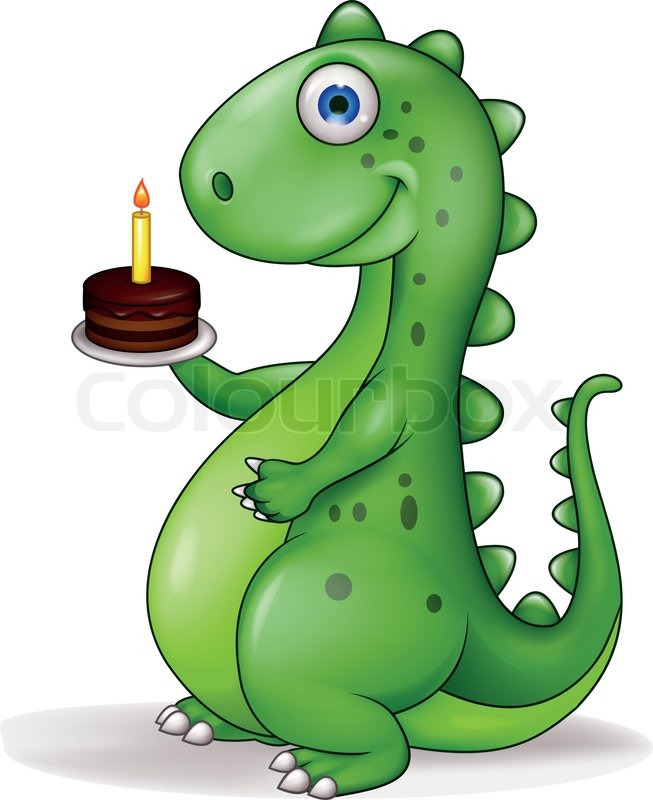 Vector illustration of Funny dinosaur cartoon with birthday cake