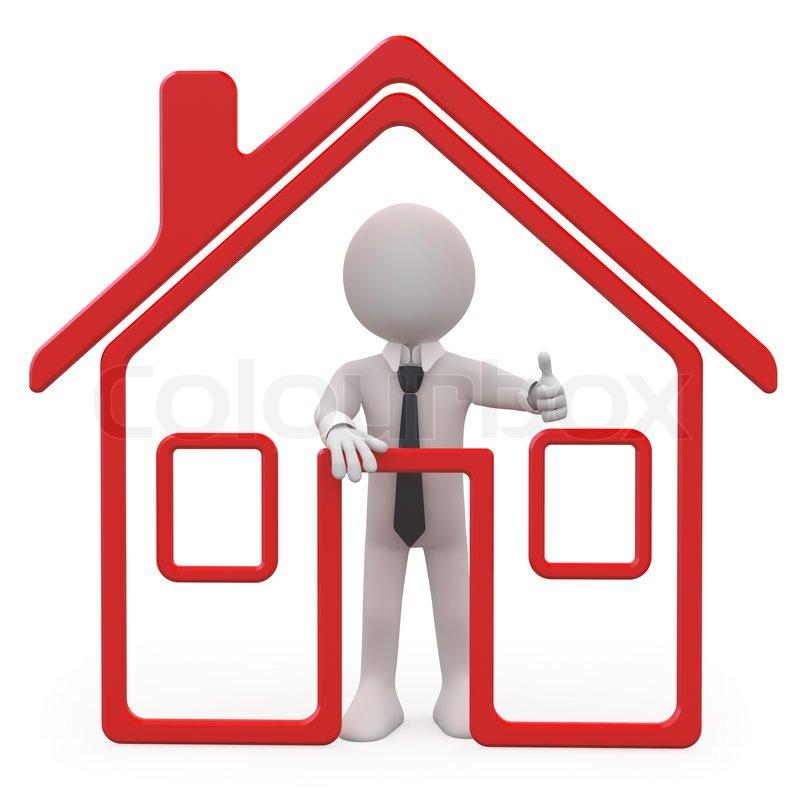 Verkäufer von Häusern mit einer schematischen Haus | Stockfoto ...