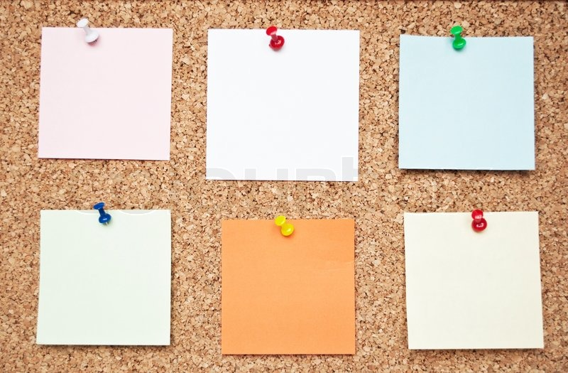 Blank Memo Notes On Cork Board  Stock Photo  Colourbox
