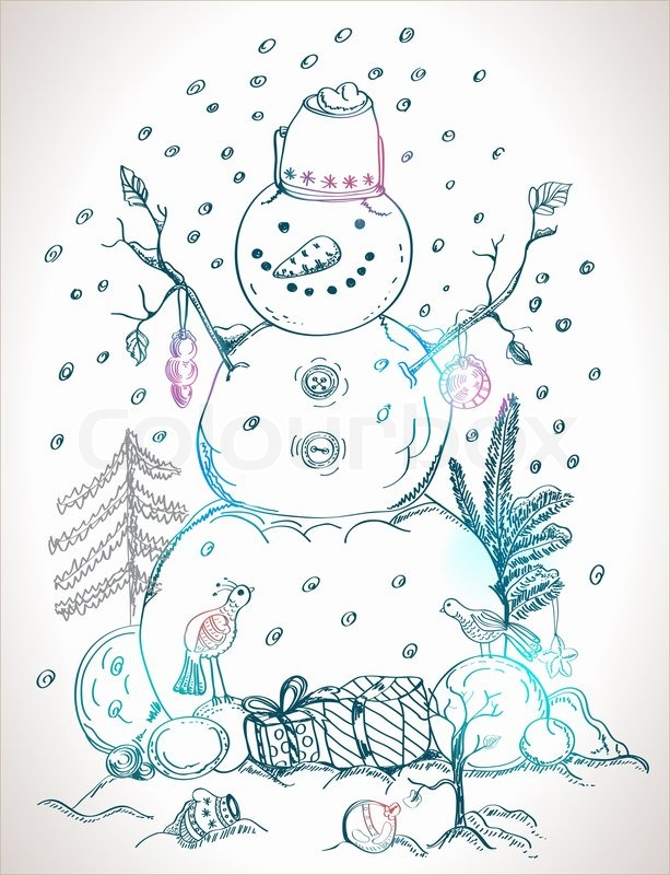 Christmas Card For Xmas Design With Balls Bird Gift And Hand Drawn Snowman