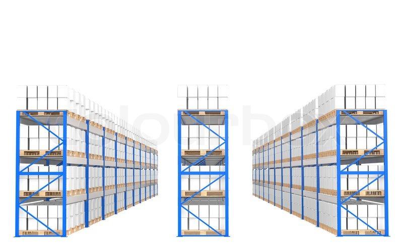 warehouse regale frontansicht teil eines blauen lager und logistik serie stockfoto colourbox. Black Bedroom Furniture Sets. Home Design Ideas