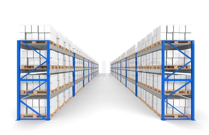 warehouse regale 2 reihen etage schatten teil eines blauen lager und logistik serie stockfoto. Black Bedroom Furniture Sets. Home Design Ideas