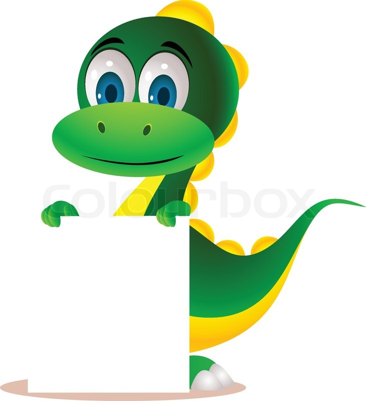 Cute Dinosaur And Blank Sign Stock Vector Colourbox