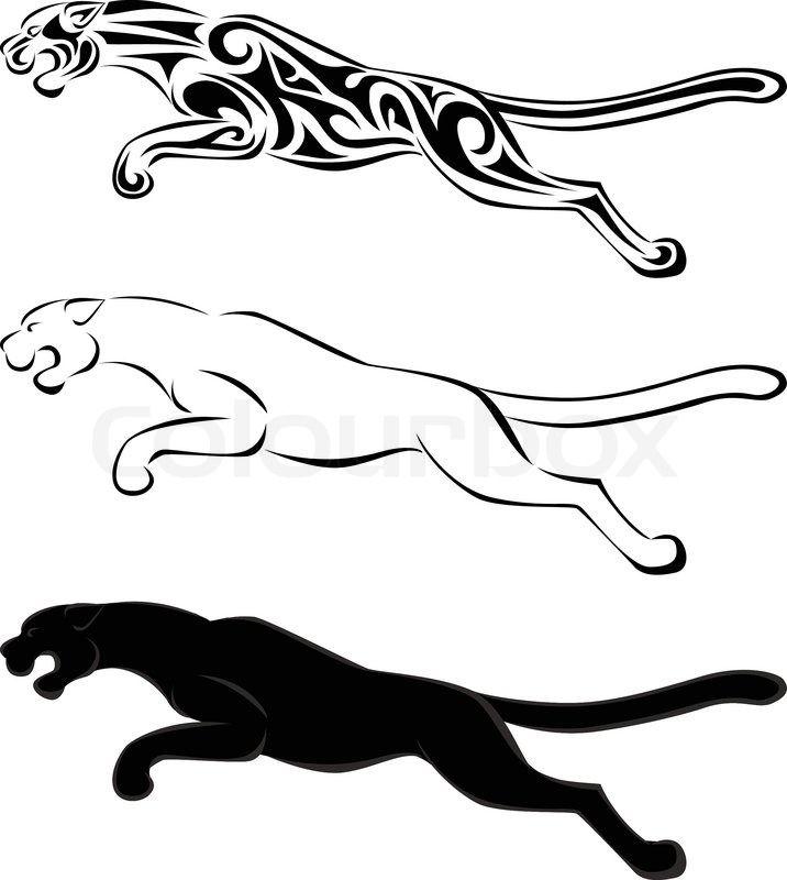 jaguar silhouette tattoo stock vector colourbox. Black Bedroom Furniture Sets. Home Design Ideas