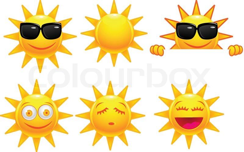 Sun Cartoon Character Stock Vector Colourbox
