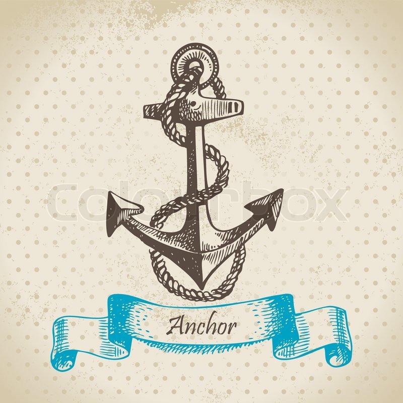 Anker bleistiftzeichnung  Anchor Hand gezeichnete Illustration | Vektorgrafik | Colourbox