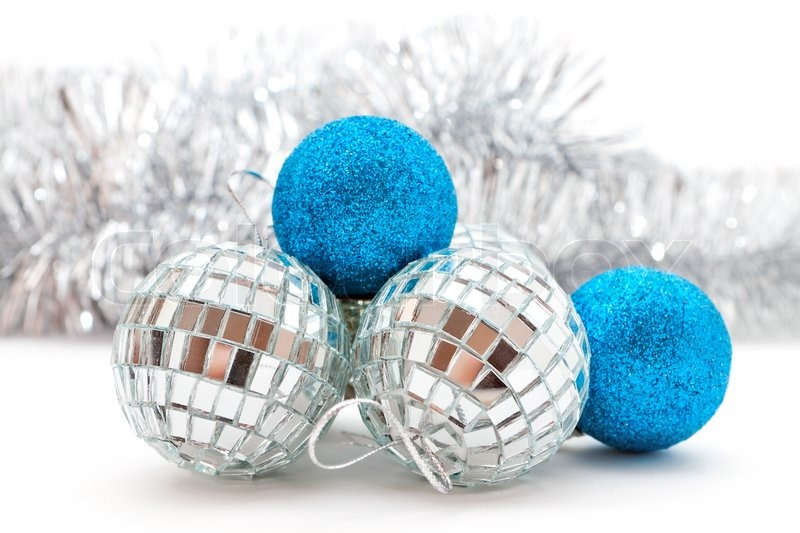 silver and blue christmas decorations stock photo colourbox