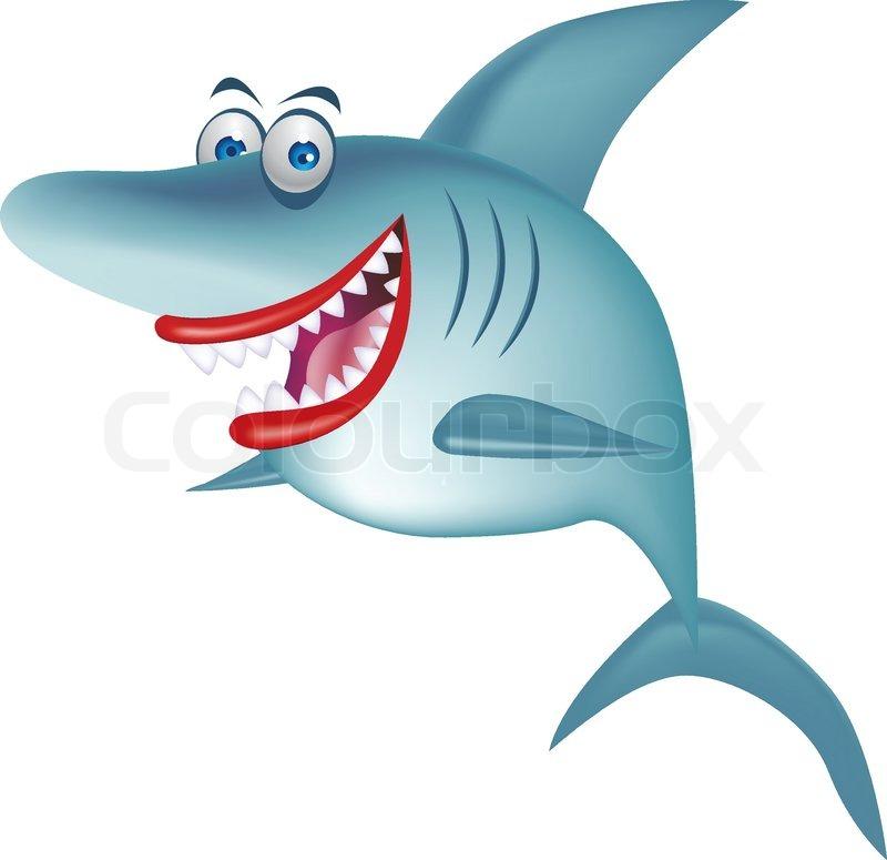 cartoon smiling shark isolated stock vector colourbox