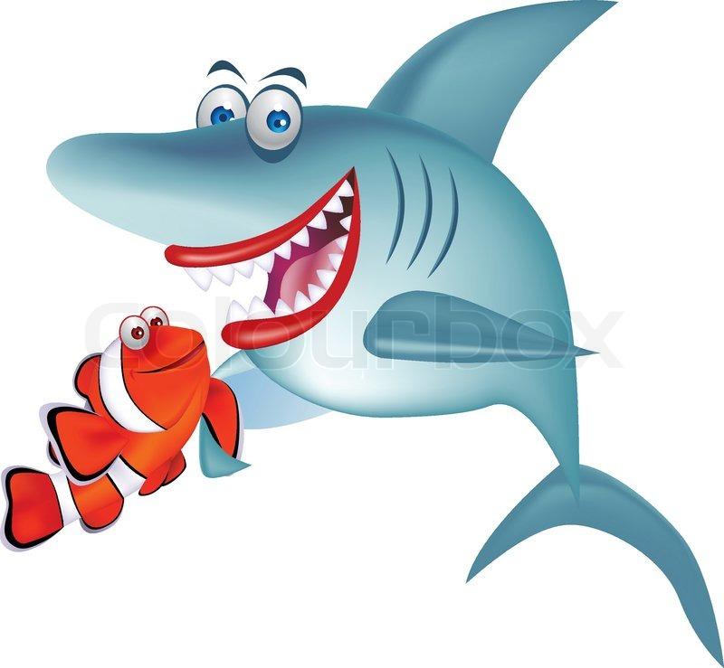 Shark and clown fish   Stock Vector   Colourbox