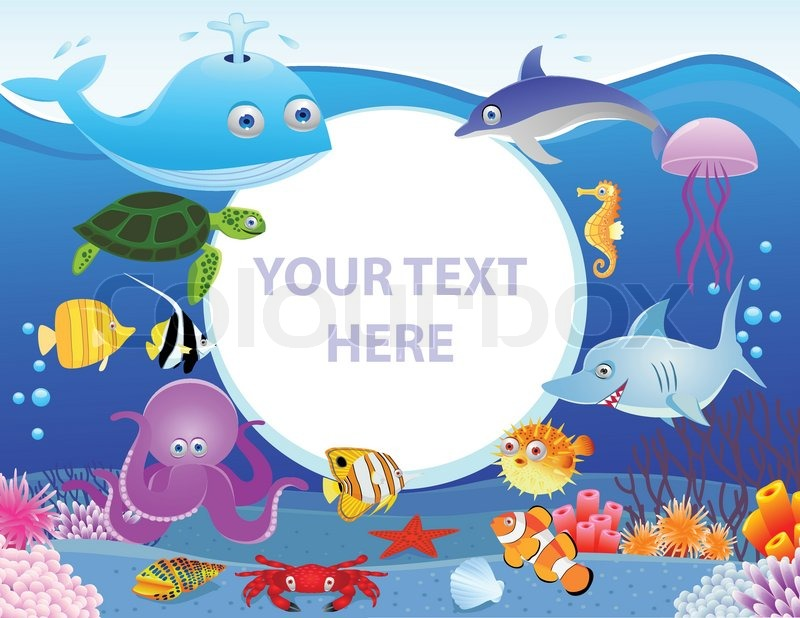 sea life cartoon with blank sign stock vector colourbox