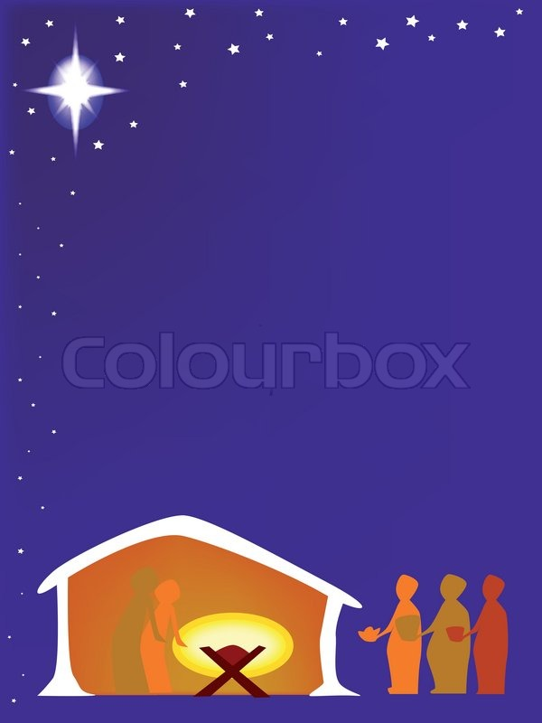 The christmas nativity scene with star and manger