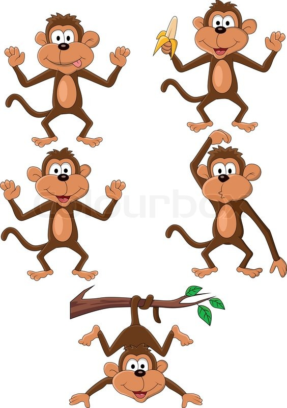 vector illustration of monkey cartoon stock vector colourbox