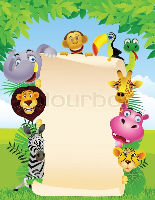 Zoo Animals Together Clipart Animal and blank sign ...
