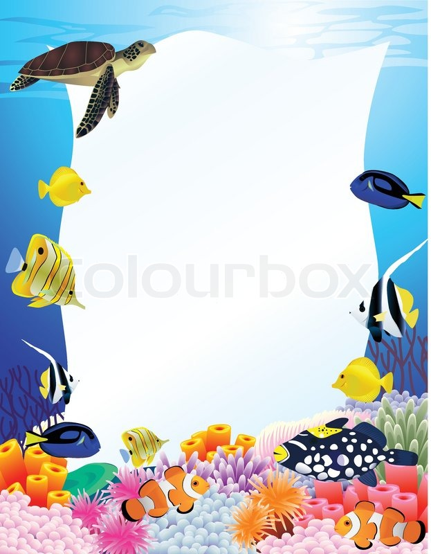 Vector Illustration Of Sea Ife Frame Stock Vector Colourbox