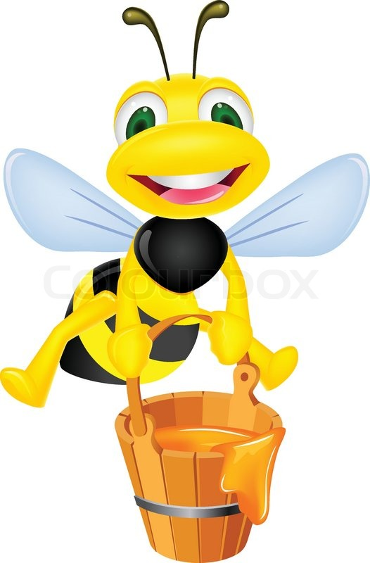 bee carrying honey stock vector colourbox