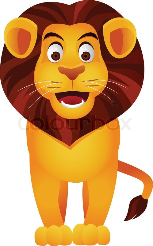 Lion Cartoon Character on Lion Cartoon Stock Vector