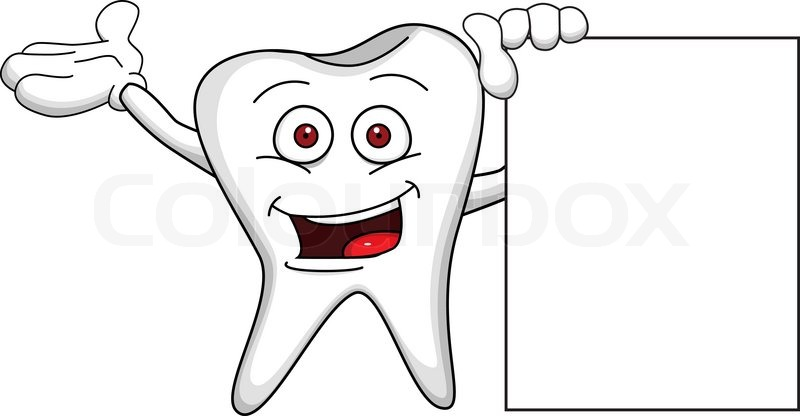 1 Toothed Cartoon Characters : Tooth cartoon character with blank sign stock vector