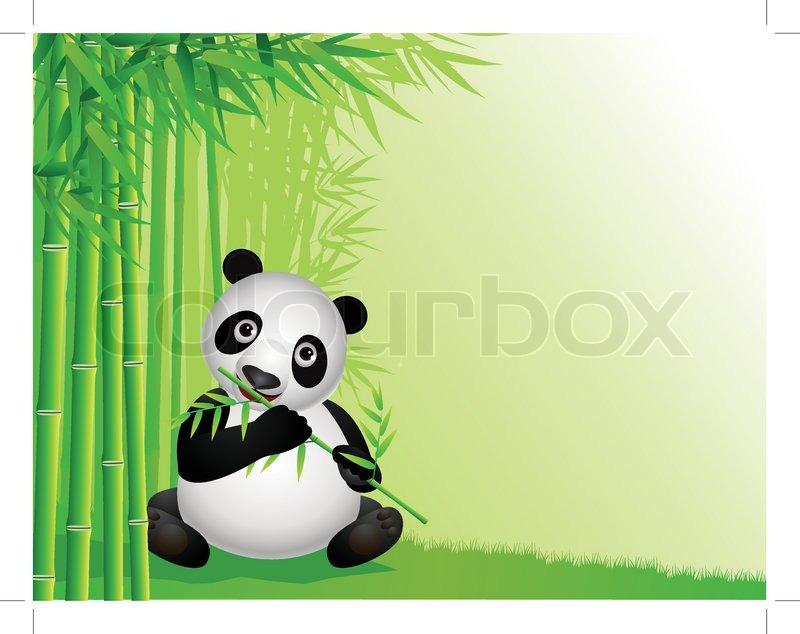 Panda Bambus Essen Vektorgrafik Colourbox