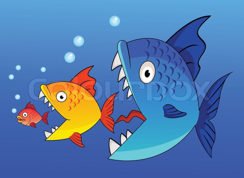 Cartoon big fish eating up the smaller stock vector for What do fish eat in the ocean