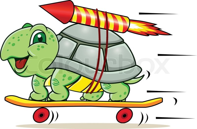 Funny little turtle using four wheels and rocket to gain speed ...