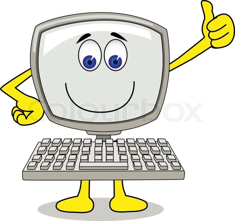 Computer Cartoon Stock Vector Colourbox