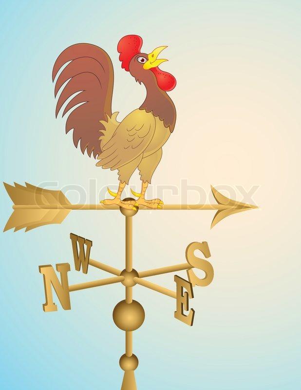 Rooster Cartoon Weather Vane Stock Vector Colourbox