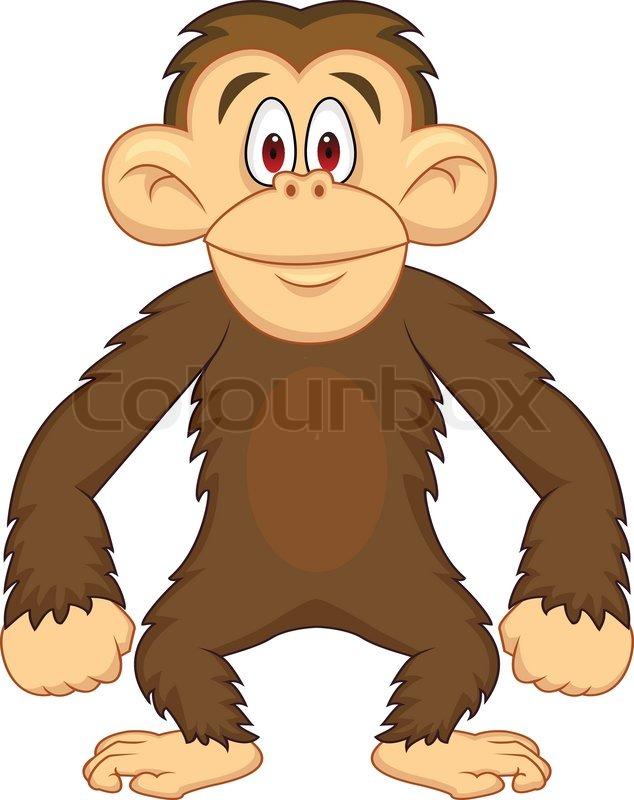 Safari jungle animals clip art and safari animals - Cute Chimpanzee Stock Vector Colourbox