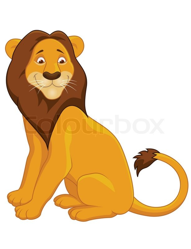 lion cartoon sitting stock vector colourbox