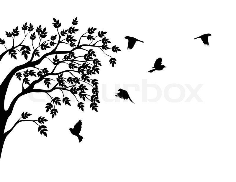 Tree silhouette and bird | Stock Vector | Colourbox