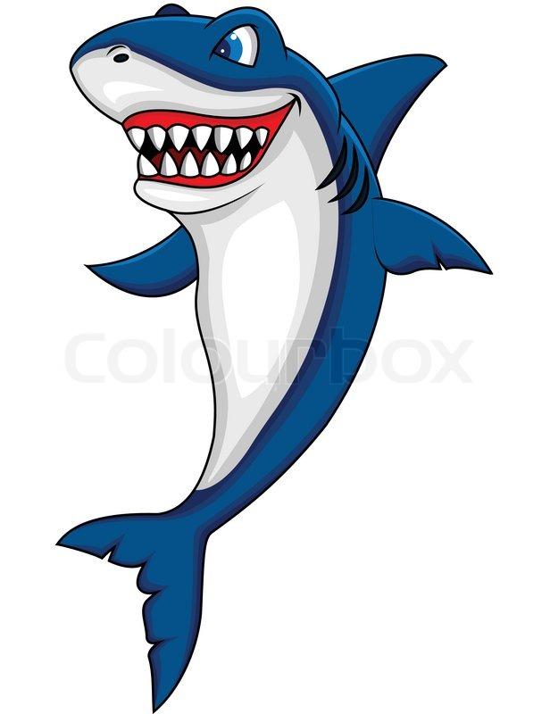 Happy shark cartoon | Stock vector | Colourbox