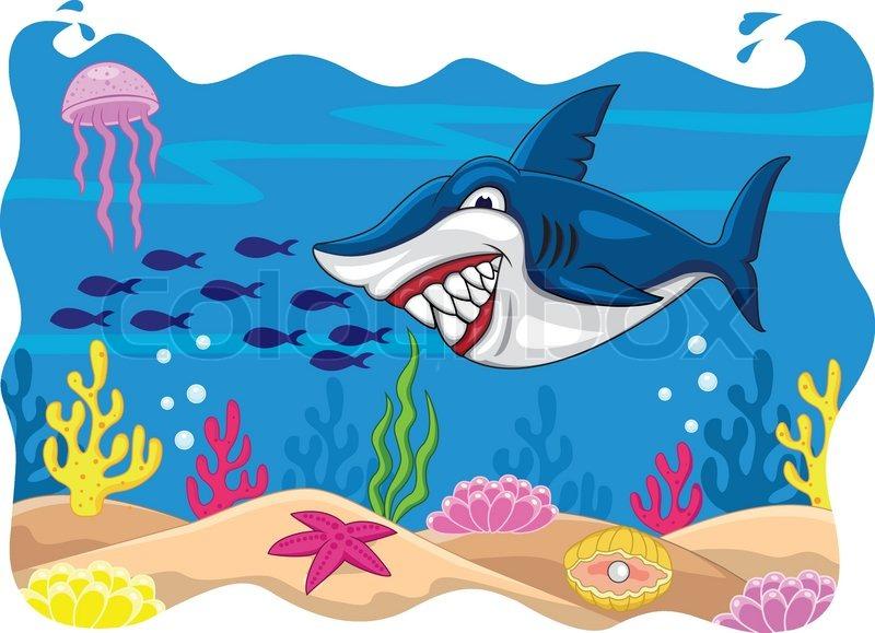 Shark cartoon with porthole frame | Stock Vector | Colourbox
