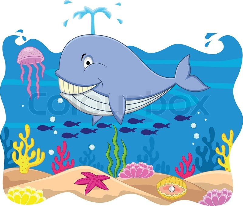 whale cartoon stock vector colourbox