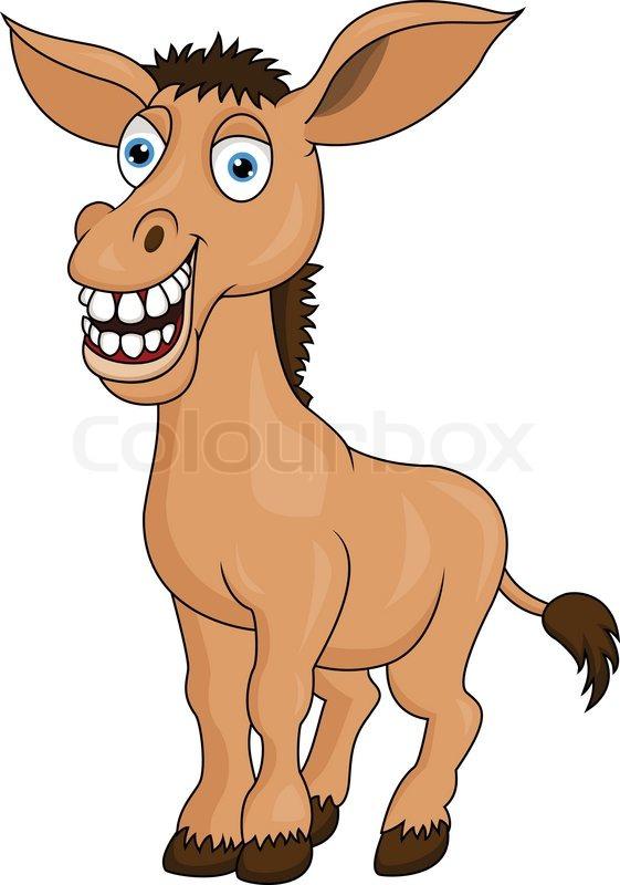 Smiling donkey cartoon stock vector colourbox