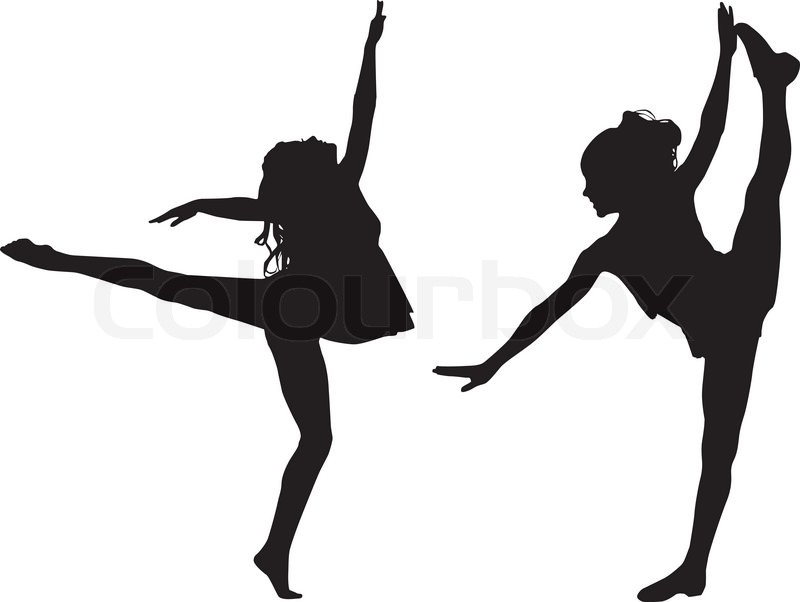 Dancing silhouettes children | Stock Vector | Colourbox