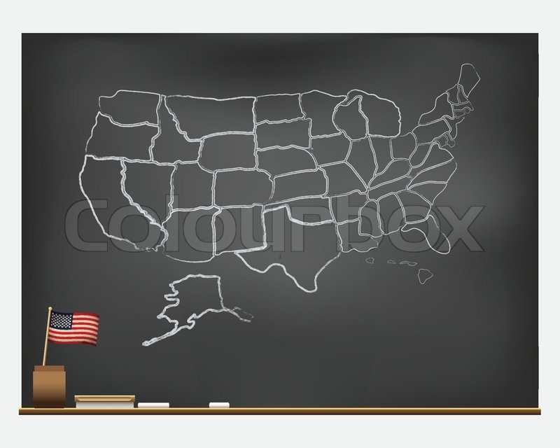 Hand Drawn Us Map.Chalkboard With Hand Drawn Usa Map Stock Vector Colourbox