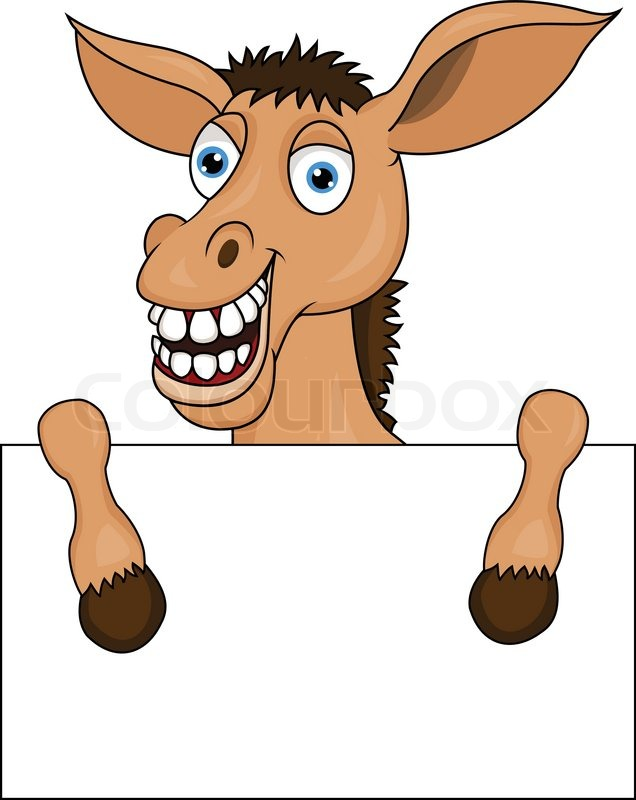 Donkey with blank sign vector colourbox