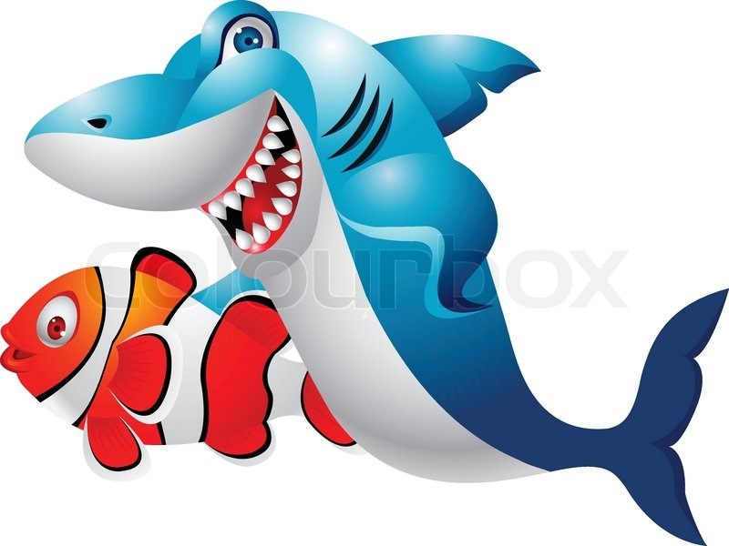 Shark and clown fish cartoon   Stock Vector   Colourbox
