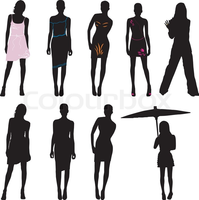 Silhouette Fashion Girls Stock Vector Colourbox