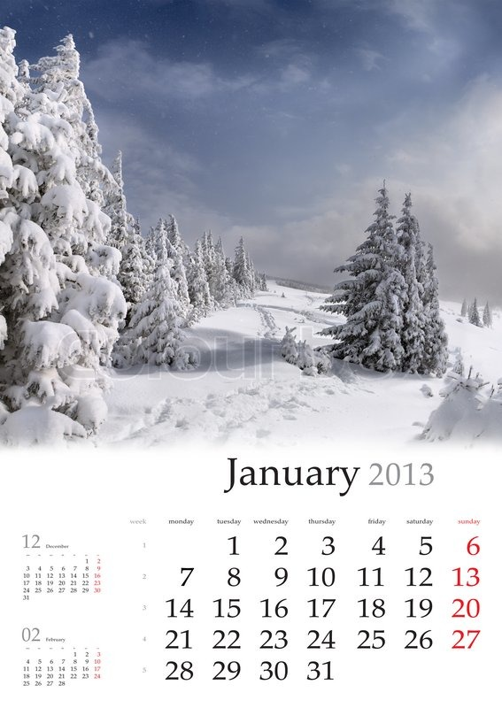 2013 calendar january beautiful winter landscape in the mountains stock photo colourbox