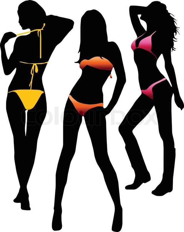 Bikini girls silhouette - vector | Stock Vector | Colourbox
