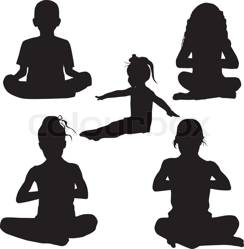 Silhouette Child S Yoga Stock Vector Colourbox