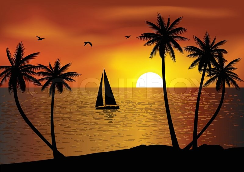 Vector Illustration Of Tropical Beach Sunset Vector